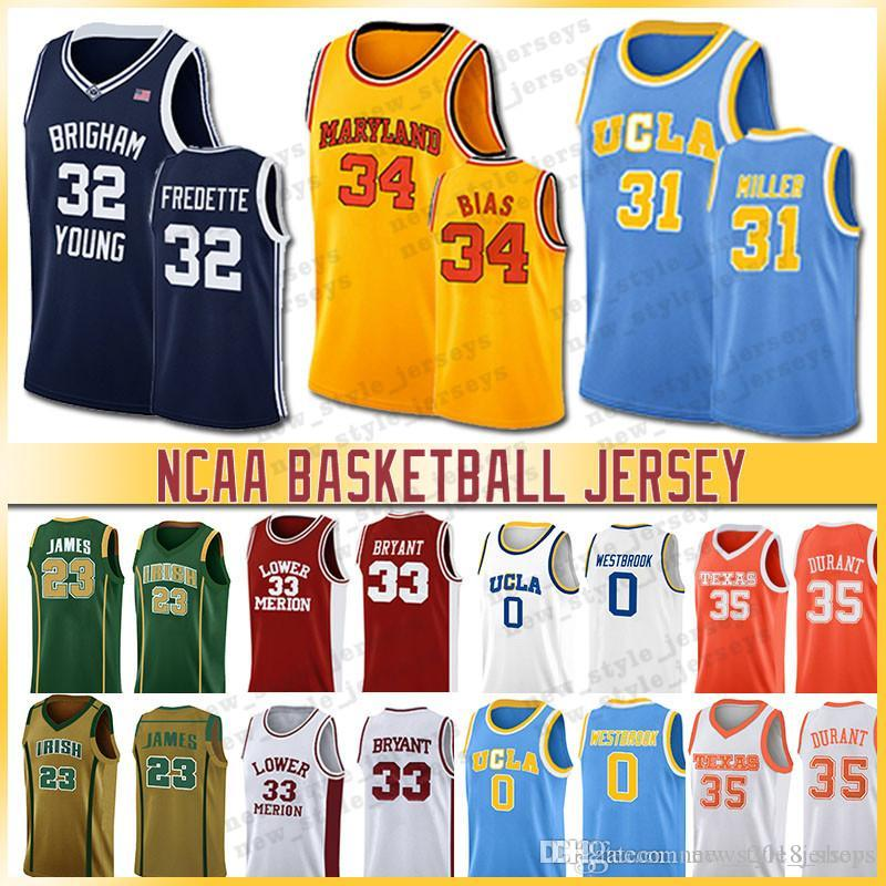 32 Jimmer Fredette 34 Len BIAS Westbrook NCAA 23 Lebron Jersey Brigham Young Cougars 30 Curry 3 Wade University Basketball Trikots Miller