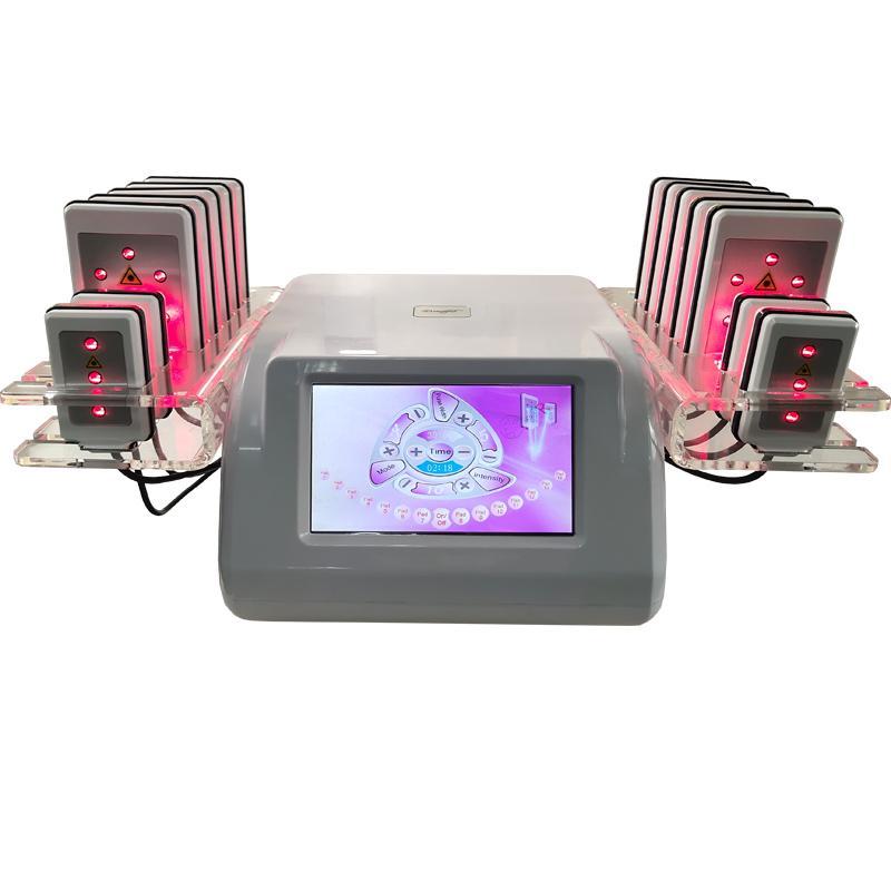 휴대용 Lipo 레이저 기계 (14 개) 패드 Lipolaser 슬리밍 지방 굽기 체중 감소 지방 흡입 셀룰 라이트 장비를 감소