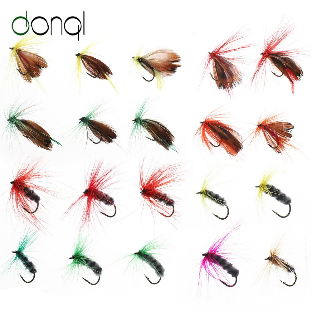 Lures DONQL 10/20/50pcs Insects Flies Fly Fishing Lures Moth Trout Dry Fly Fishing Baits With Sharpened Crank Hooks Fish Tackle