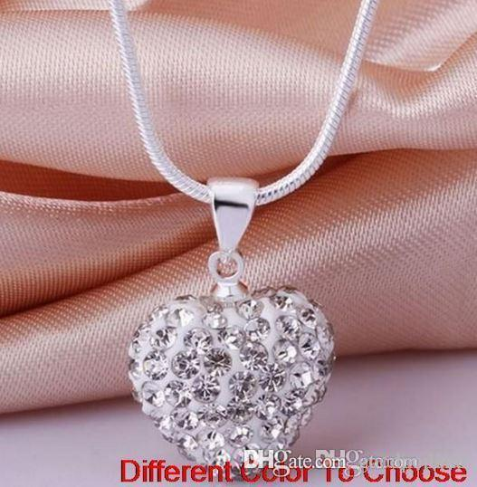lowest price u3442 hotsale mircro pave disco Mix Colors beads clay heart silver plated crystall Crystal necklace pendant p6533 w62 e23