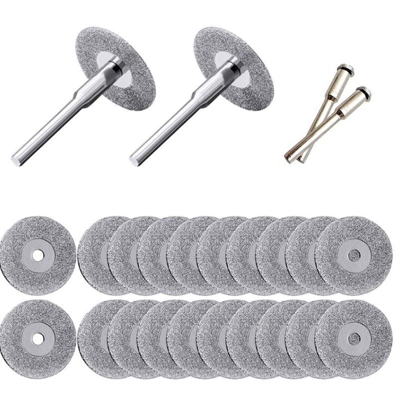 20 Pièces 22mm diamant roue de coupe à tronçonner Disques Coated Outils rotatifs Avec 4 Pack Mandrin outil rotatif Dremel Pourperceuse