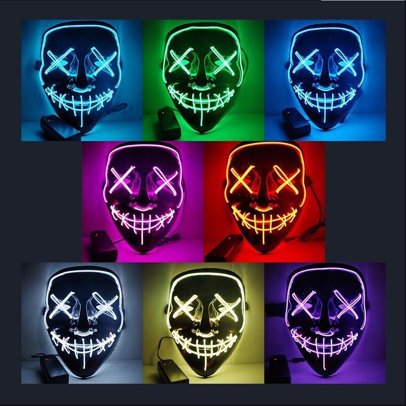 Halloween Horror Maske LED leuchtende Masken Purge Masken Wahl Mascara Kostüm DJ Party Leuchten Masken Glow In Dark 10 Farben Versandkostenfrei