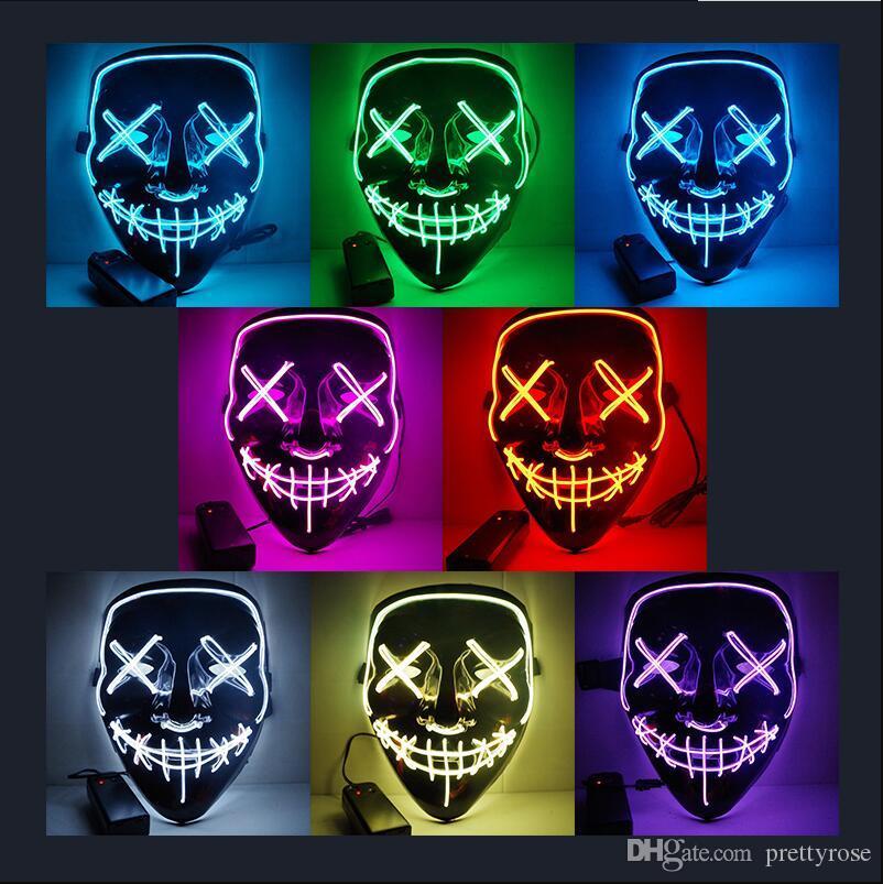 할로윈 공포 마스크 LED 빛나는 마스크 퍼지 마스크 선거 마스카라 의상 DJ 파티 라이트 마스크 어두운 10 색 무료 배송