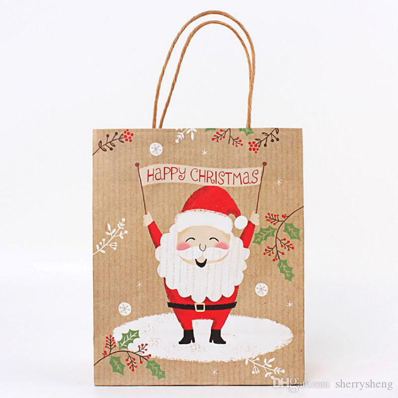 2020 هدية عيد الميلاد حقائب كبيرة ورق الكرافت العضوية حقيبة سانتا كلوز كيس الحرفية ورقة حقيبة يد نمط جديد