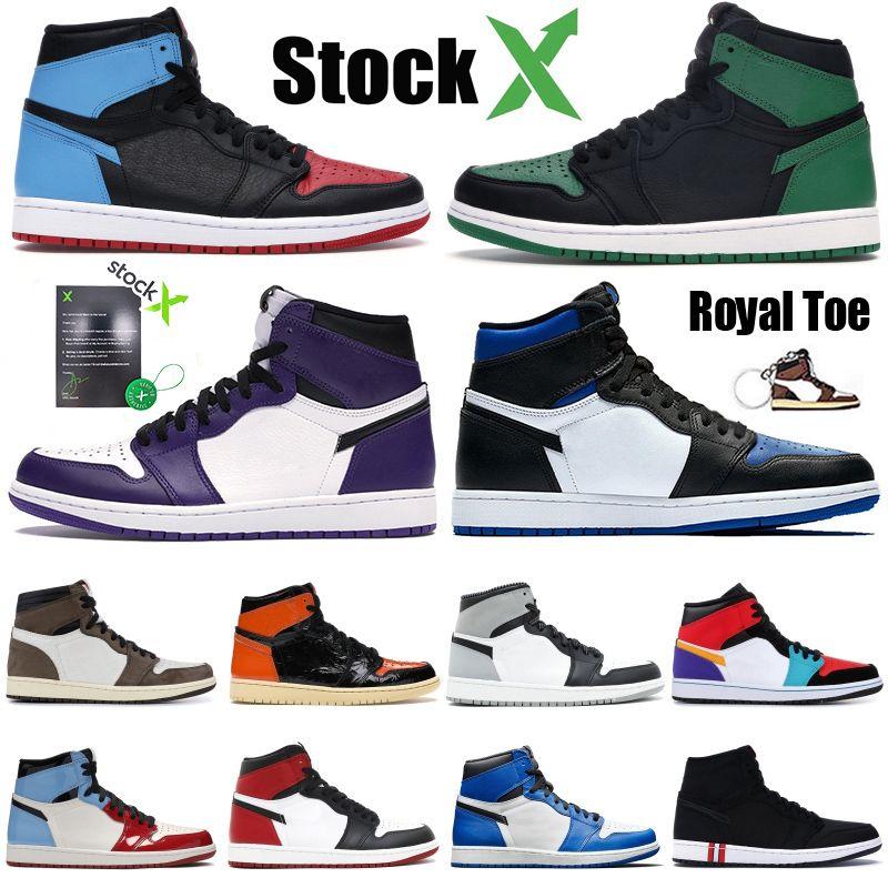 Scarpe Uomo di pallacanestro Jordan 1 retro ad alta OG 1s economico vietato Obsidian UNC gioco dimensione reale della scarpa da tennis atletica leggera Top 3 Mens Sport allenatore