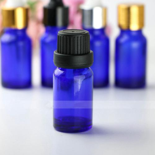 768pcs al por mayor / porción 10ml mini vacío vidrio azul de aceite gotero 10 ml botella de vidrio con gotero envases cosméticos envío libre