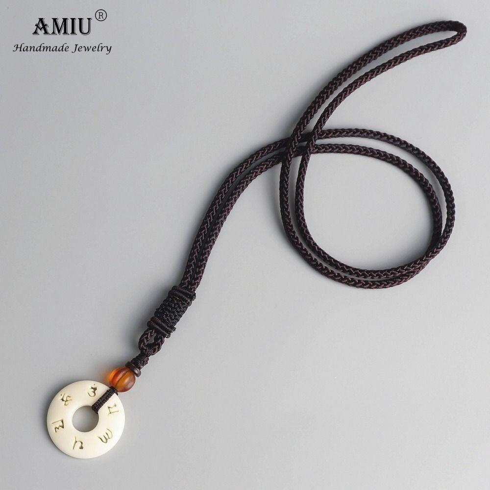 AMIU budista tibetano hecho a mano de la cadena de la cuerda simple Con Amuleto collar budismo colgante, collar de OM Mantra sesión Tagua