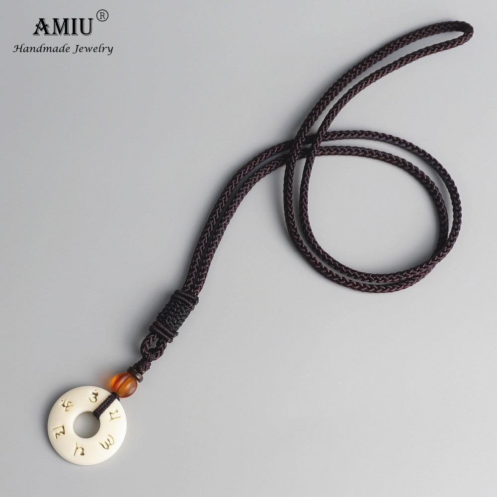 AMIU Tibetan Buddhist Handmade Simple Rope Chain With OM Mantra Sign Tagua Nut Pendant Necklace Buddhism Amulet Necklace