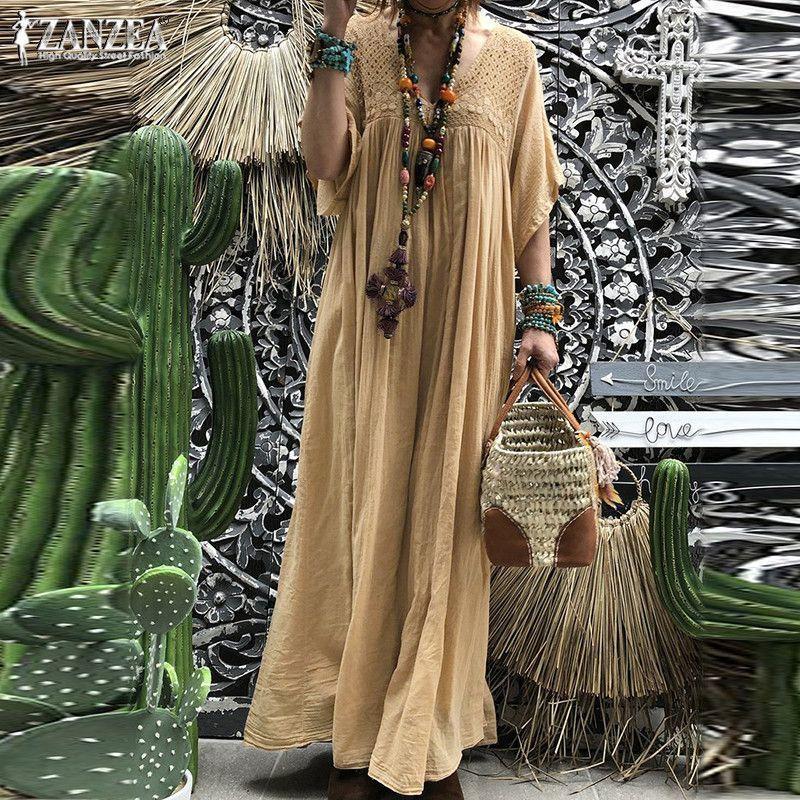 ZANZEA 2019 Чешское кружево крючком макси платье женский летний сарафан плиссированные половина Flare рукавом Vestidos плюс размер V шеи халат