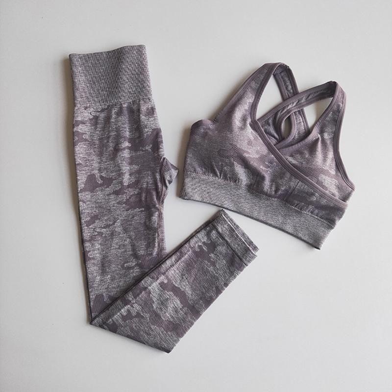 2020 New Camo Seamless Yoga Set Women Fitness Clothing Sportswear High Waist Gym Leggings Tights Workout Bra 2 Piece Sport Suit