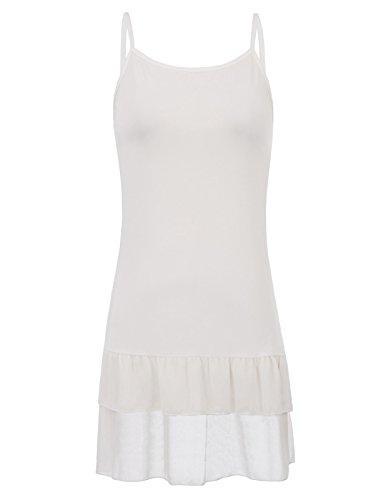 Vestido de camisola de gasa con extensión de encaje y gasa de Kate Kasin Top sin mangas con espagueti