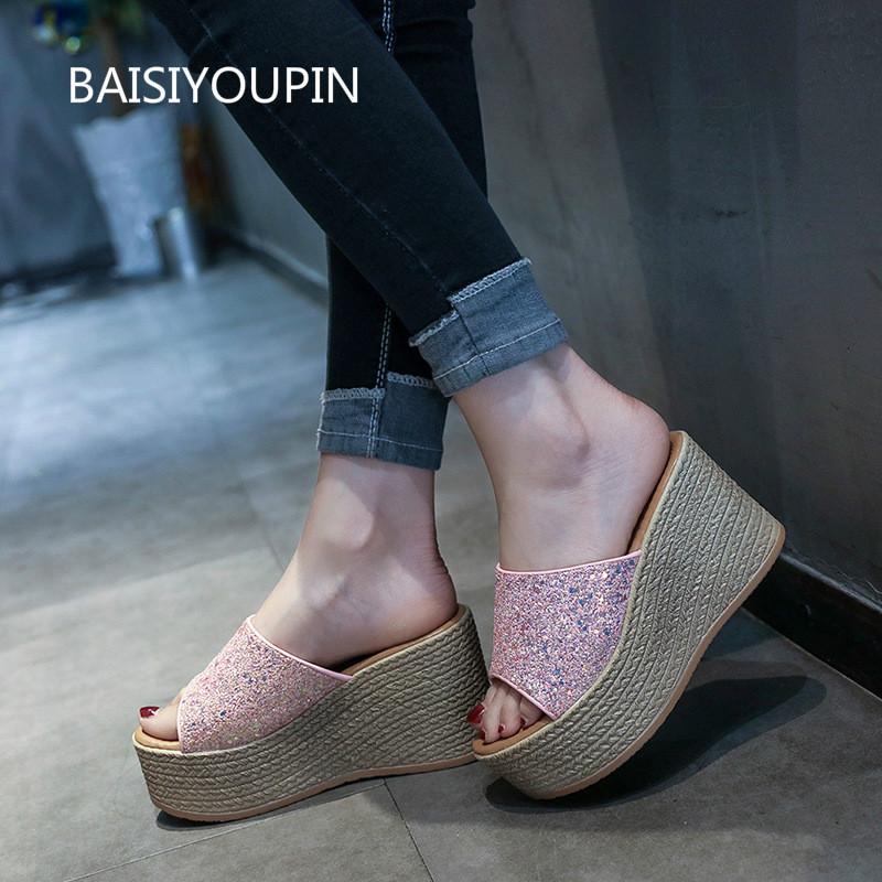 Mode Nouvelles femmes Slides été Escarpins 9cm solides Hauts talons extérieur Plateforme (5cm) Blingbling Wedges précarisés chaussons