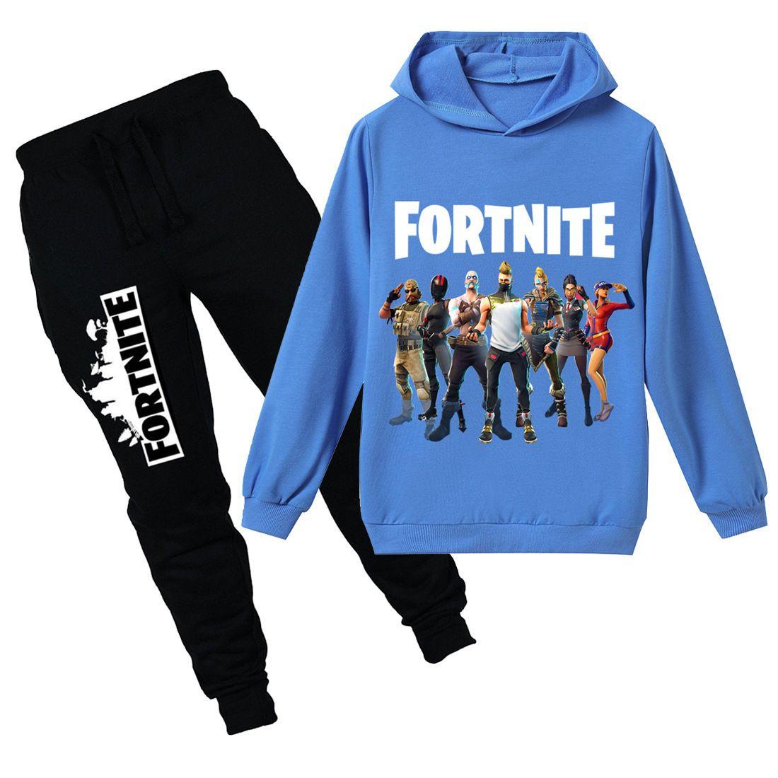Teenmiro Fortnite Vêtements enfants Set Pour Garçons Filles Printemps Enfants Sport Costume adolescents Sweat à capuche Pantalons Survêtement Battle Royale Enfant