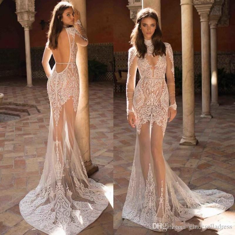 Sexy New Illusion 2019 Berta Boho Long Sleeves Lace Backless Wedding Dresses Dubai Arabic High Collar Neckline Sheath Bridal Gowns