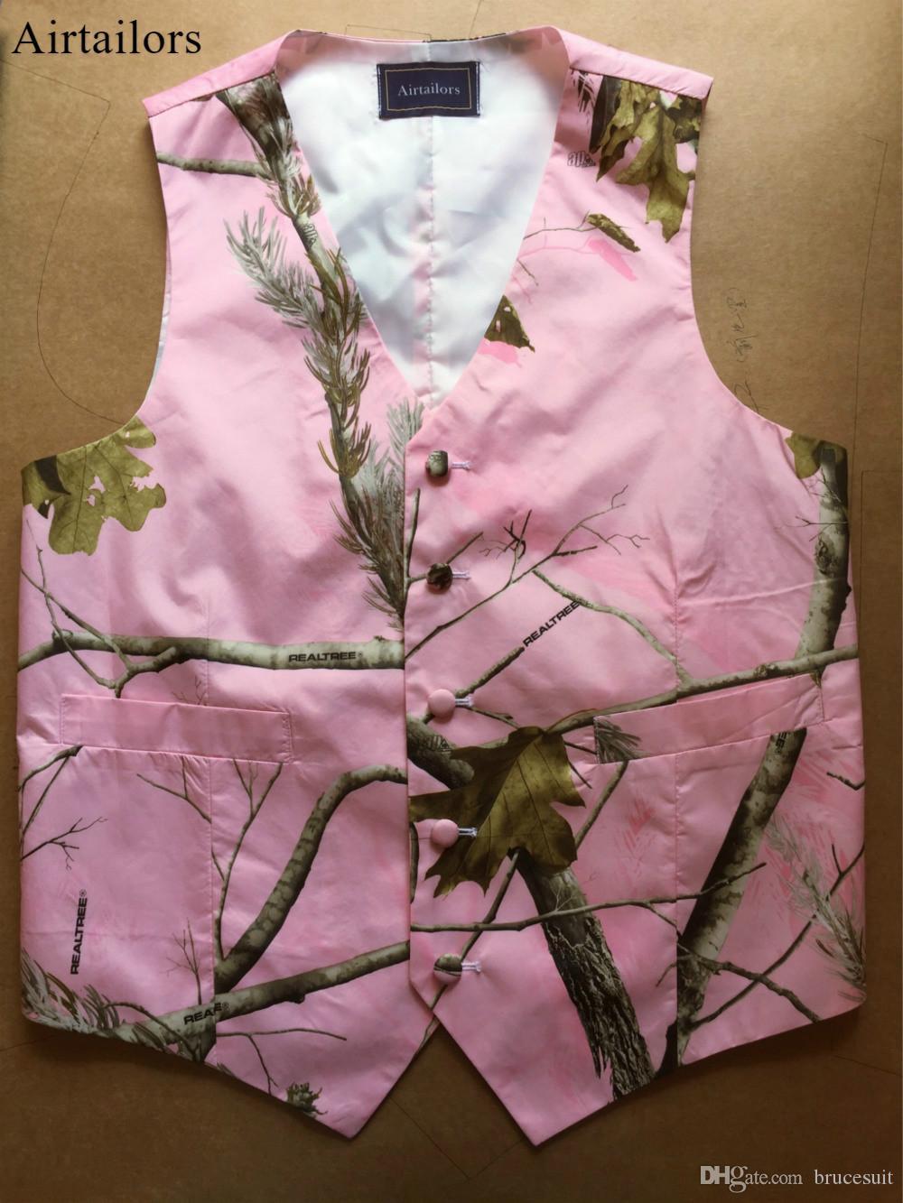 Airtailors 2019 Fashion Real-Tree Camo groom Vest for Rustic Wedding Mens Abito mimetico Vest Plus Size Multi-colori