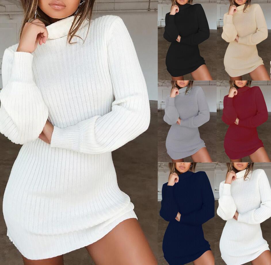 Frauen gestrickte Pullover Kleid Turtleneck Herbst-Winter-warme beiläufige lange Hülse finess Pullover Minikleid für weibliches Gewand ve