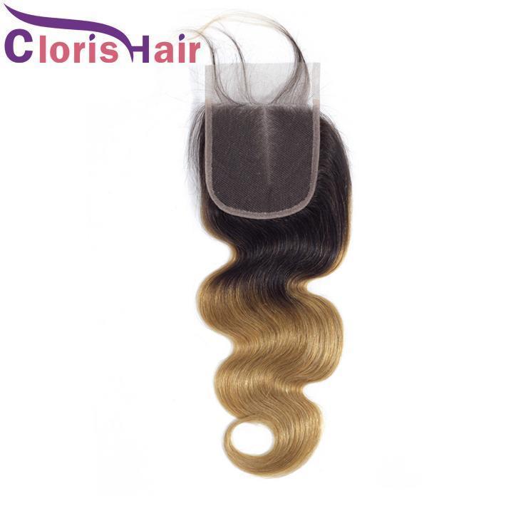 Las raíces del pelo oscuro Honey Blonde Ombre Top cierres 4x4 peruana Virgen onda del cuerpo humano cordón suizo T1b 27 Rubio Cierre Pre desplumados rayita