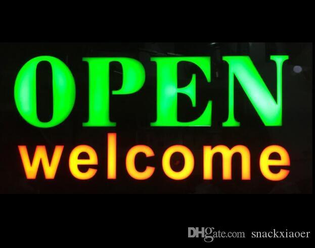 WELCOME مفتوحة الصمام LED تسجيل الأعمال مفتوح SIGN المتحركة الحركة DISPLAY + مفتاح تشغيل / إيقاف الضوء الساطع النيون