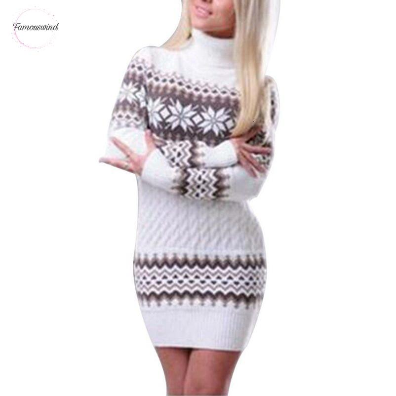 스웨터 가을 니트 워킹 겨울 아플리케 여성 긴 소매 스웨터 드레스 여성 패치 워크 눈송이 Turtleneck 풀오버 좋은 품질