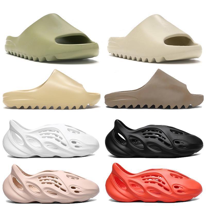Mousse Runner Kanye résine Lames Sandal os Désert Sable Triple Noir Rouge Blanc Avec boîte styliste de mode pantoufle Slipper Hommes Femmes