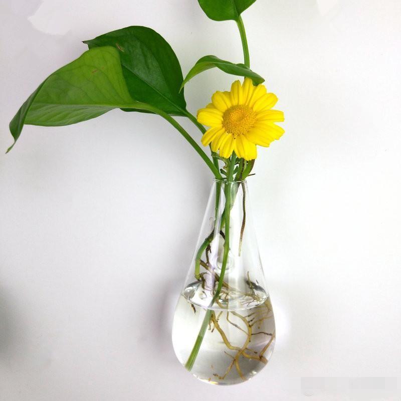 Noel Süsler ev dekorasyonu için vazo asılı Yeni su damlacığı şekil Şeffaf tırmanma duvarı cam çiçek vazo hava bitkiler teraryum çiçek