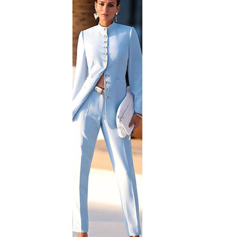 moda NEW2021 luz azul mujer de los trajes de negocios de oficina femenina uniformes trajes pantalón formal para damas traje de bodas del pantalón