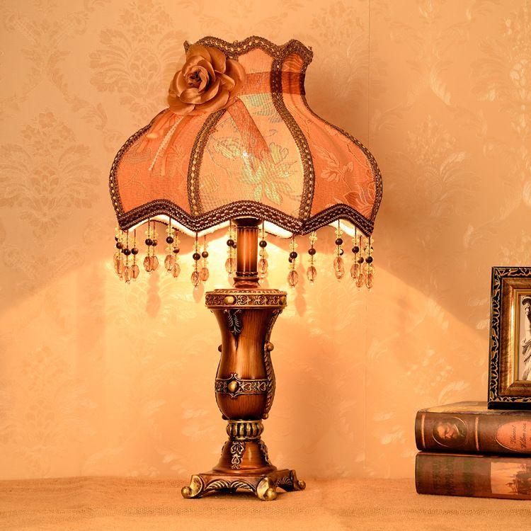 Viviendo lámpara retro sitio tela europea contra el lado de la cama minimalista lámpara de noche dormitorio de la lámpara