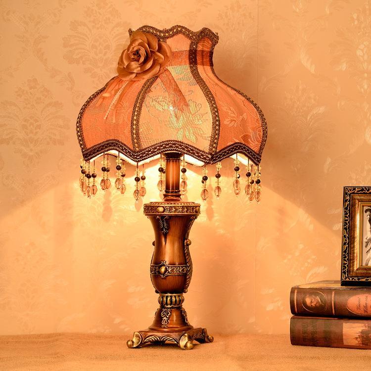 Vivendo lâmpada do quarto retro tecido europeu minimalista contador de cabeceira lâmpada quarto lâmpada de cabeceira