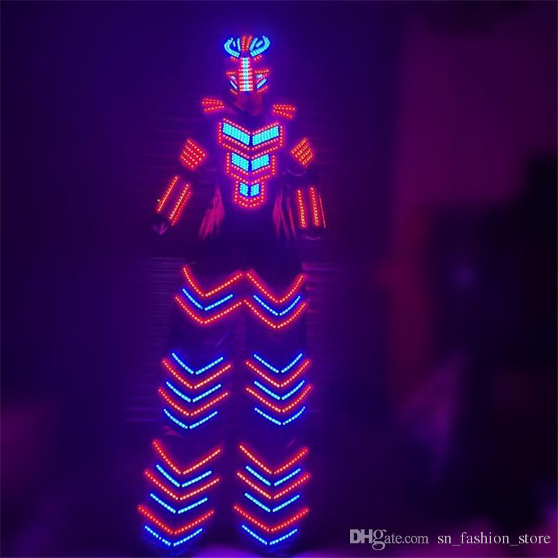 P52 RGB colorful led light robot men stilts costumes stage led costume dj luminous armor outfits party wears clothe glowing mask perform bar