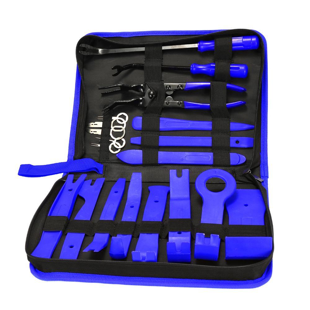 19pcs Portable Car Auto Radio panneau de porte clip panneau de garniture Dash Retrait audio Installer Pry Kit de réparation d'outils clés de voiture-Styling Piler