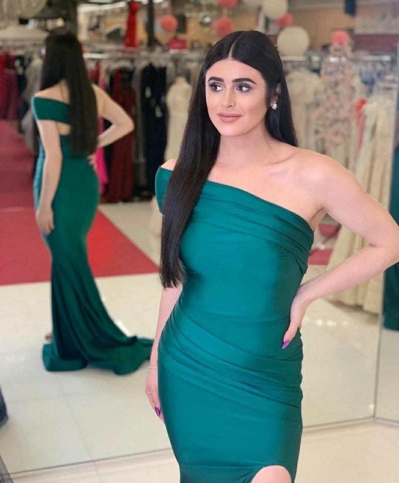 Yarık Robe De Soiree Bir Omuz Pileli Abiye Giyim Vestido De Festa ile zarif Kadınlar Denizkızı Uzun Yeşil Sıkı Gelinlik