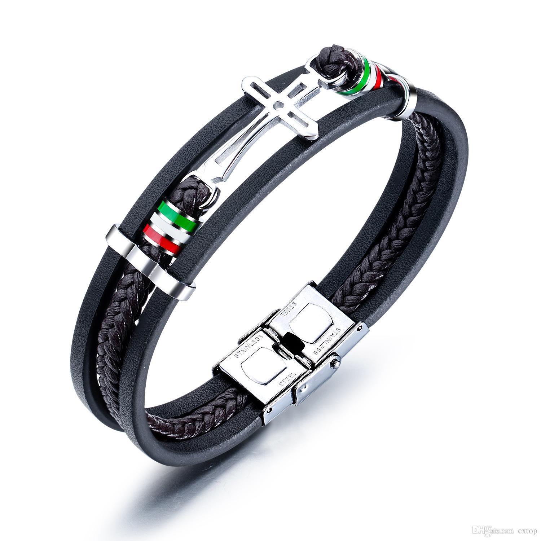 pulseiras de couro PU para aço inoxidável cross homens malha estilo retro multi-camada de mão ajustável mens cadeia de jóias para presentes meninos