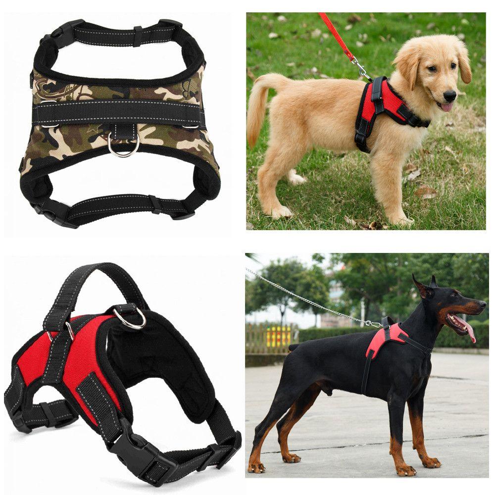 النايلون الثقيلة الكلب كلب تسخير طوق k9 مبطن جدا كبير كبير كبير الكلب صغير الكلب يسخر سترة أجش الكلاب اللوازم