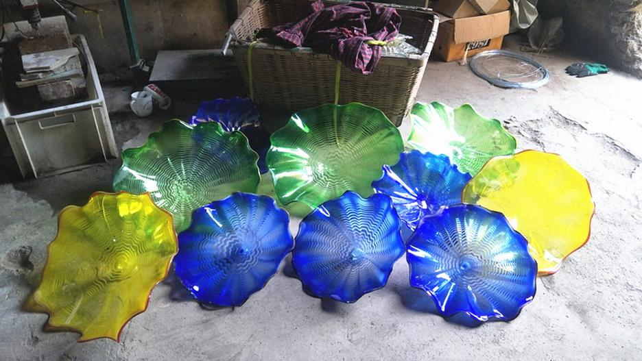 Vintage Hand Blown Glass Wall Plates Home Deco Glass Art Wall Lighting Custom Color and Size