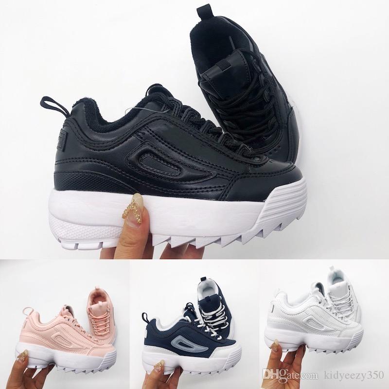 FILA Disruptor II Hot 2019 Paris Triplo S Sapatos Casuais Luxo Pai Sapatos para meninos meninas Bege Preto Designer crianças crianças Sapatos 28-35 K001