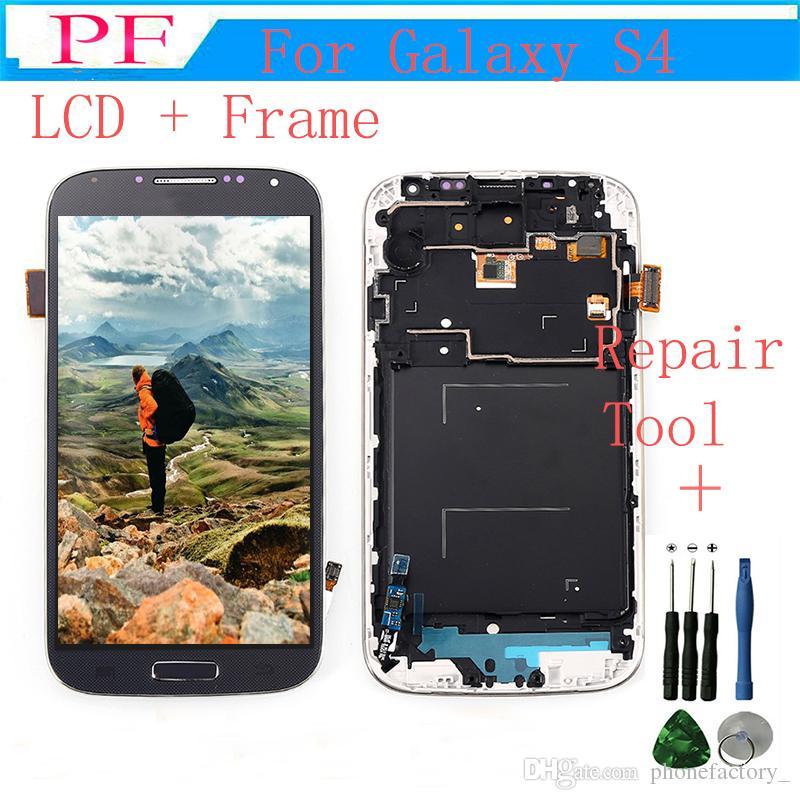 شاشة عرض LCD تعمل باللمس لاستبدال Samsung GALAXY S4 i9500 i9505 مع الجمعية التحويل الرقمي الإطار أبيض أسود أزرق + أداة إصلاح