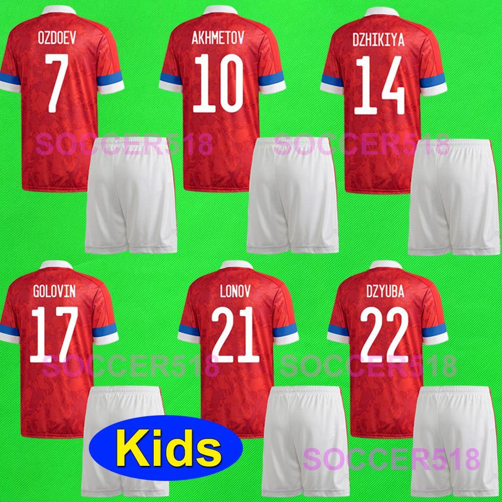 Akhmetov Dzyuba Russia 2020 bambini maglie rosse e pantaloncini Golovin Cheryshev Ozdoev uniformi di calcio KUDYASHOV DZHIKIYA Lonov Maillot de Piede