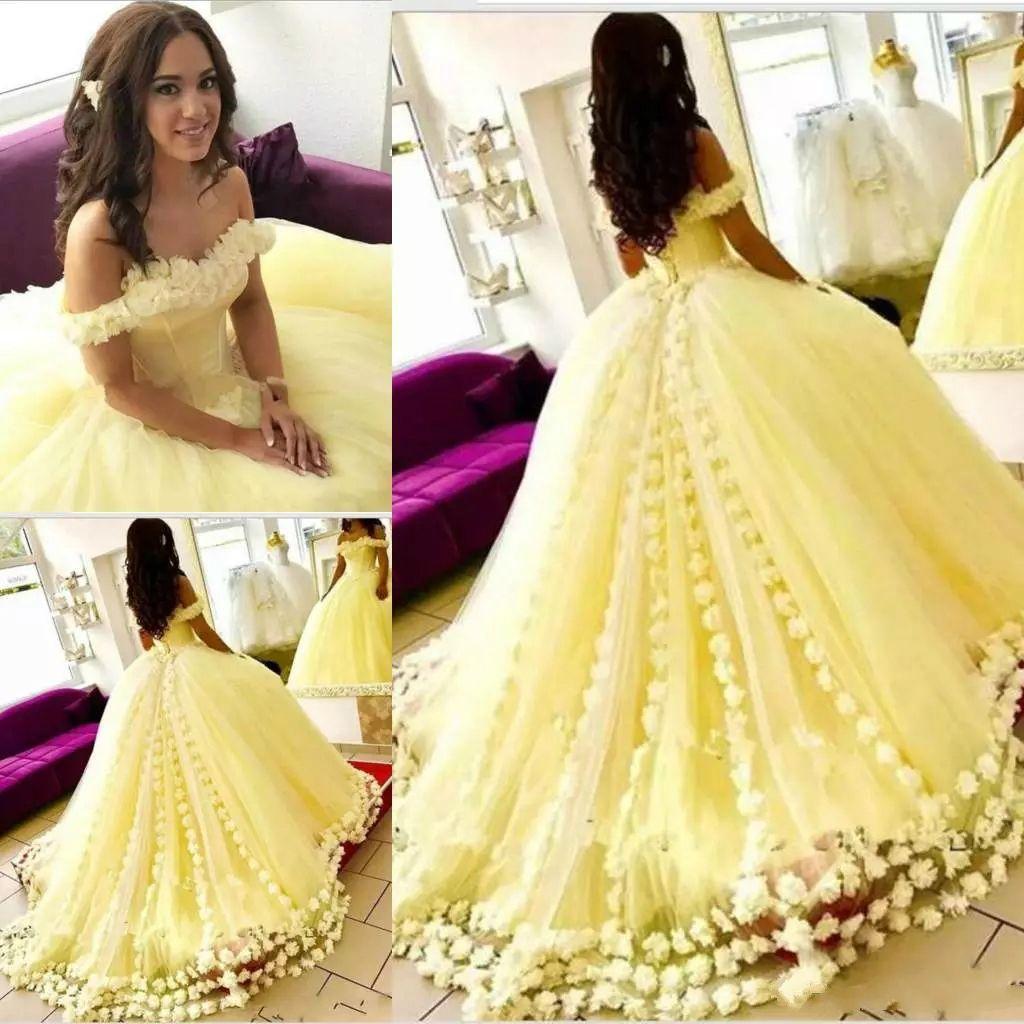 Vestidos De Daminha Lindo Amarelo Tull Quinceanera Vestidos 2019 Fora Do Ombro 3d Floral Apliques Vestido De Baile Lace Up Doce 16 Vestido Longo Prom
