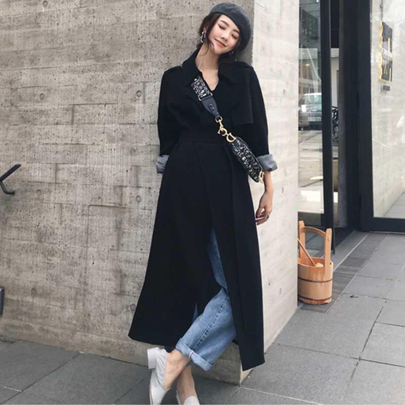 ربيع الخريف خندق معطف معطف لملابس النساء أزياء ذكر لونغ المرأة الأنيقة طويل خندق الوضع السيدات الأسود معطف واق من المطر W189