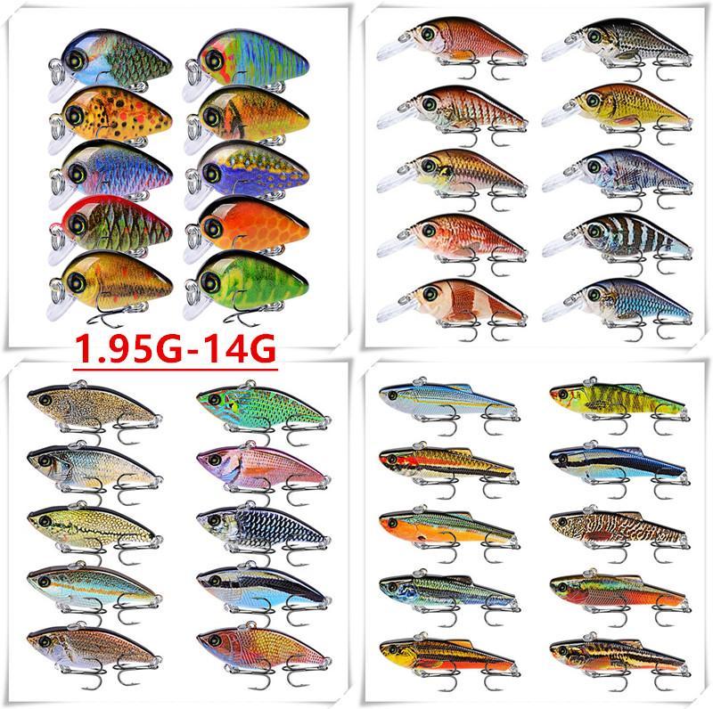 10 Color 1.95g-14g (2.85cm-11.5cm) Plastic Hard Baits & Lures 14/10/8/6# Hook Fishing Hooks Fishhooks Pesca Fishing Tackle Accessories B-147
