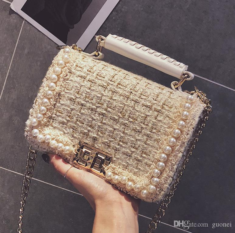 Diseñador-nuevo de las mujeres de cadena sencilla tendencia perla bolsa de mensajero bolsa grande de hombro capacidad de Invierno de la señora bolso de lana // 2 Z4