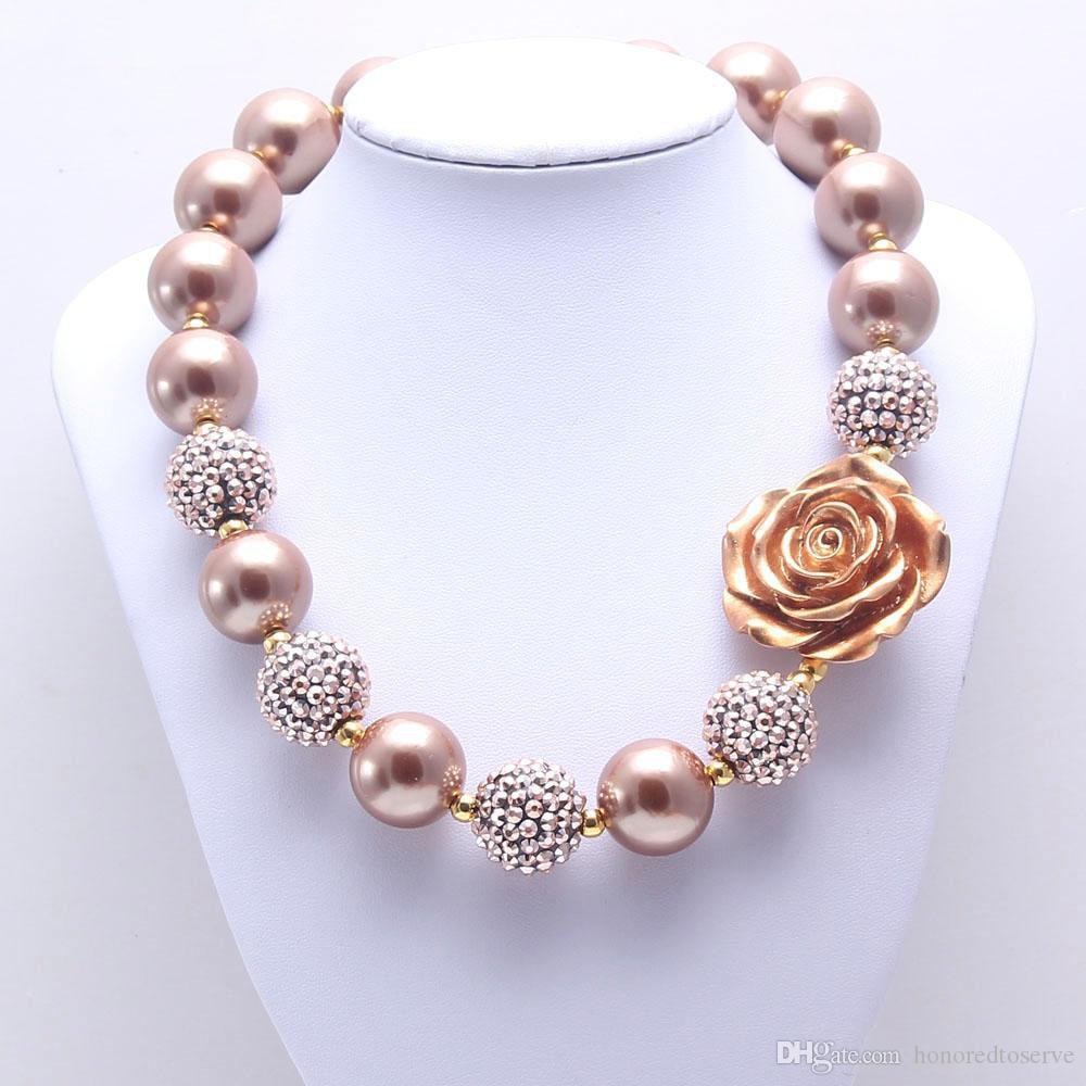 Granos de la perla rosa Niño de la flor collar fornido color oro de la manera de Bubblegum de bolas collar fornido joyas de los niños para las muchachas del niño