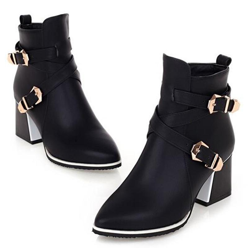 Hot Sale-2017 British Pointed Toe Ankle Boots Women Double Buckle Thick Heel Martin Military Boots Winter Autumn Lady Shoes