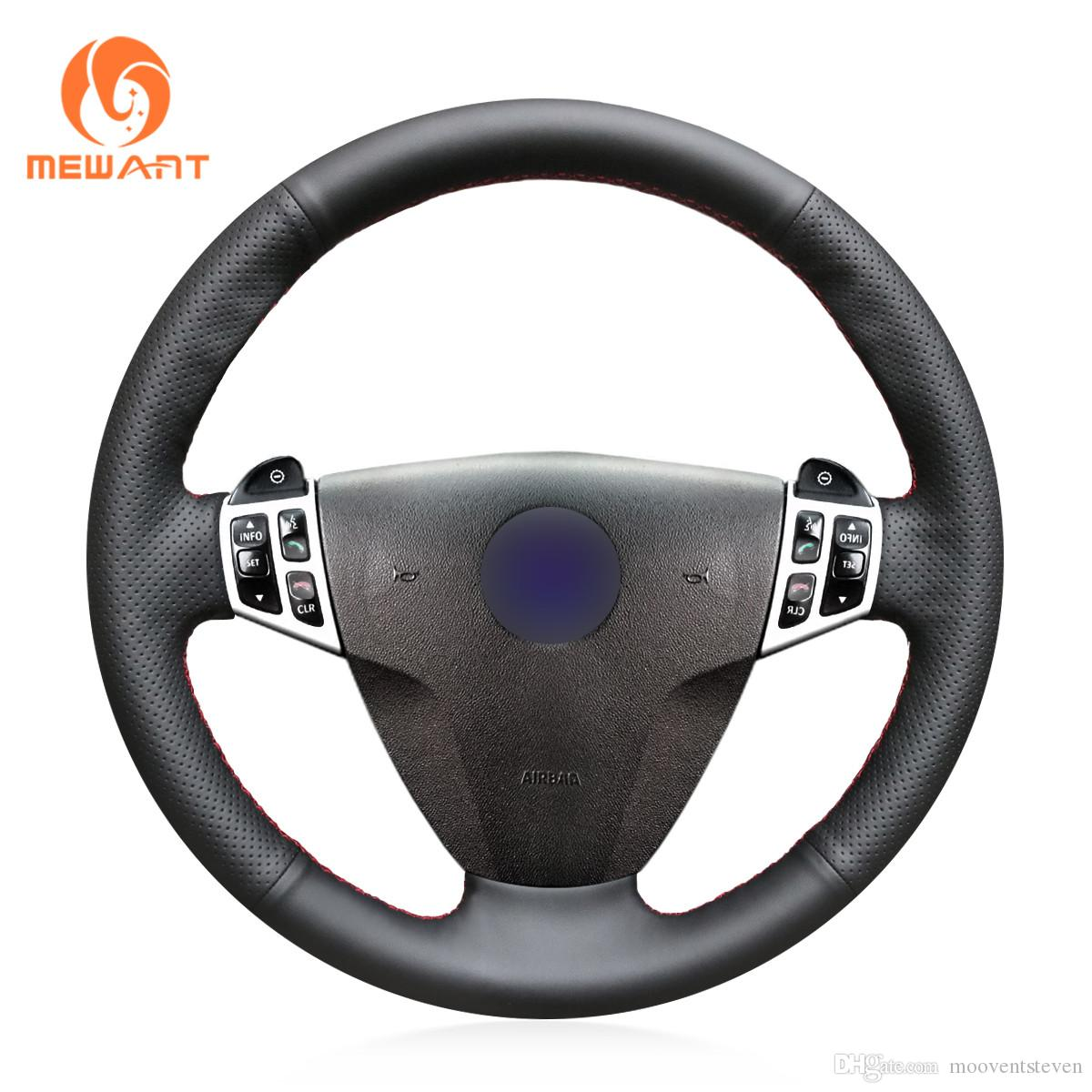 MEWANT Hand-stitched Black Genuine Leather Steering Wheel Cover Wrap for Saab 9-3 2003 2004 2005 2006 2007 2008 2009 2010 2011