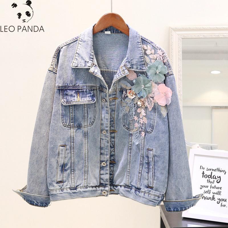 Женские Куртки 3D Цветочные аппликации Женщины Джинсовая Куртка Повседневная Свободные Кнопки Женское Пальто Осень 2021 Seet Girl Мода Вершина