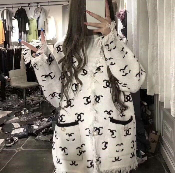 Kadınlar seksi ceket kız moda markası Baskılı mektup İnci Bayanlar OL Butik ceket örme ceket yaka fermuar ceket Yün saçaklı splice