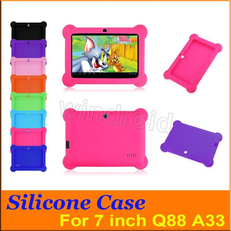 Anti Dust Kids Child Soft Silicone Rubber Gel Case Cover For 7 7 Inch Q88 Q8 A33 A23 Android Tablet pc MID Free shipping 100 colorful