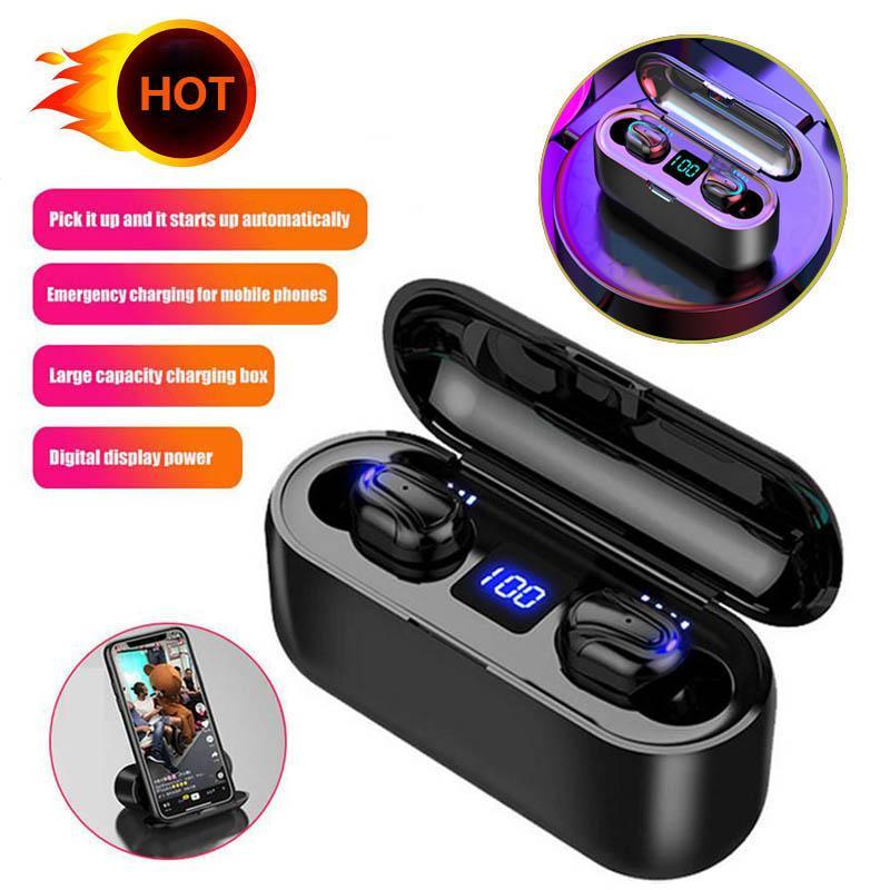 Pantalla auriculares Bluetooth Wireless LED TWS-HBQ Q32-1 HD auriculares manos libres auriculares Deportes Power Bank Gaming Headset con el Mic Estuche cargador
