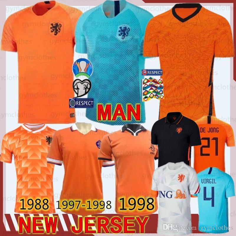 DE JONG Holanda Van Dijk VIRGILIO tailandesa Holanda nuevos jerseys del fútbol retro 1988 Holanda Jersey MEMPHIS Van Basten camisetas de fútbol