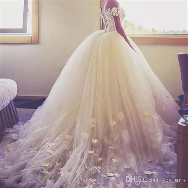 2020 New Sexy Ball Gown Wedding Dresses Off Shoulder Handmade